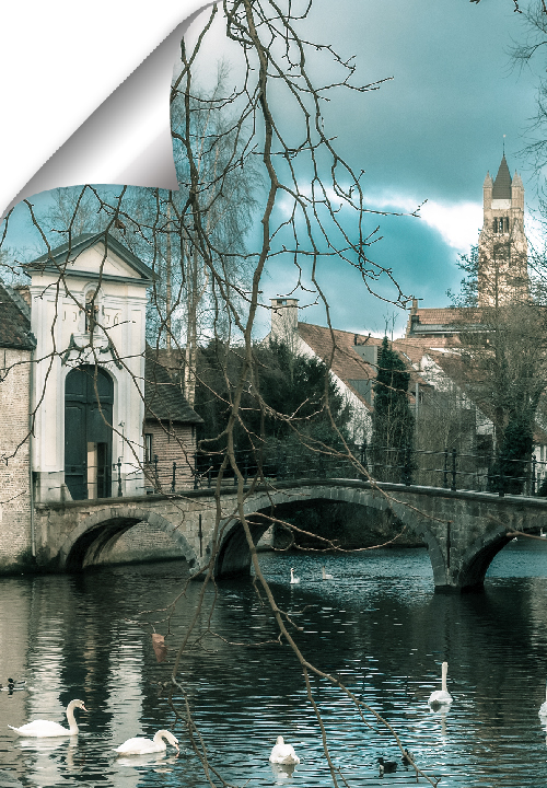 The Lake of Love is the old port of medieval Bruges. The most romantic spot in Bruges, an oasis for swans drifting around on meandering canals.