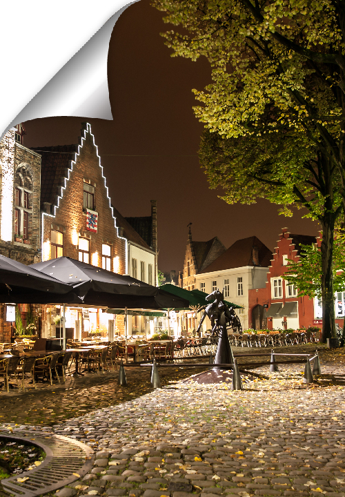 A small square with a secret in a very old part of Bruges. Lively with charming terraces beneath the trees. Located near the Princely Beguinage and the Minnewater Love Lake.