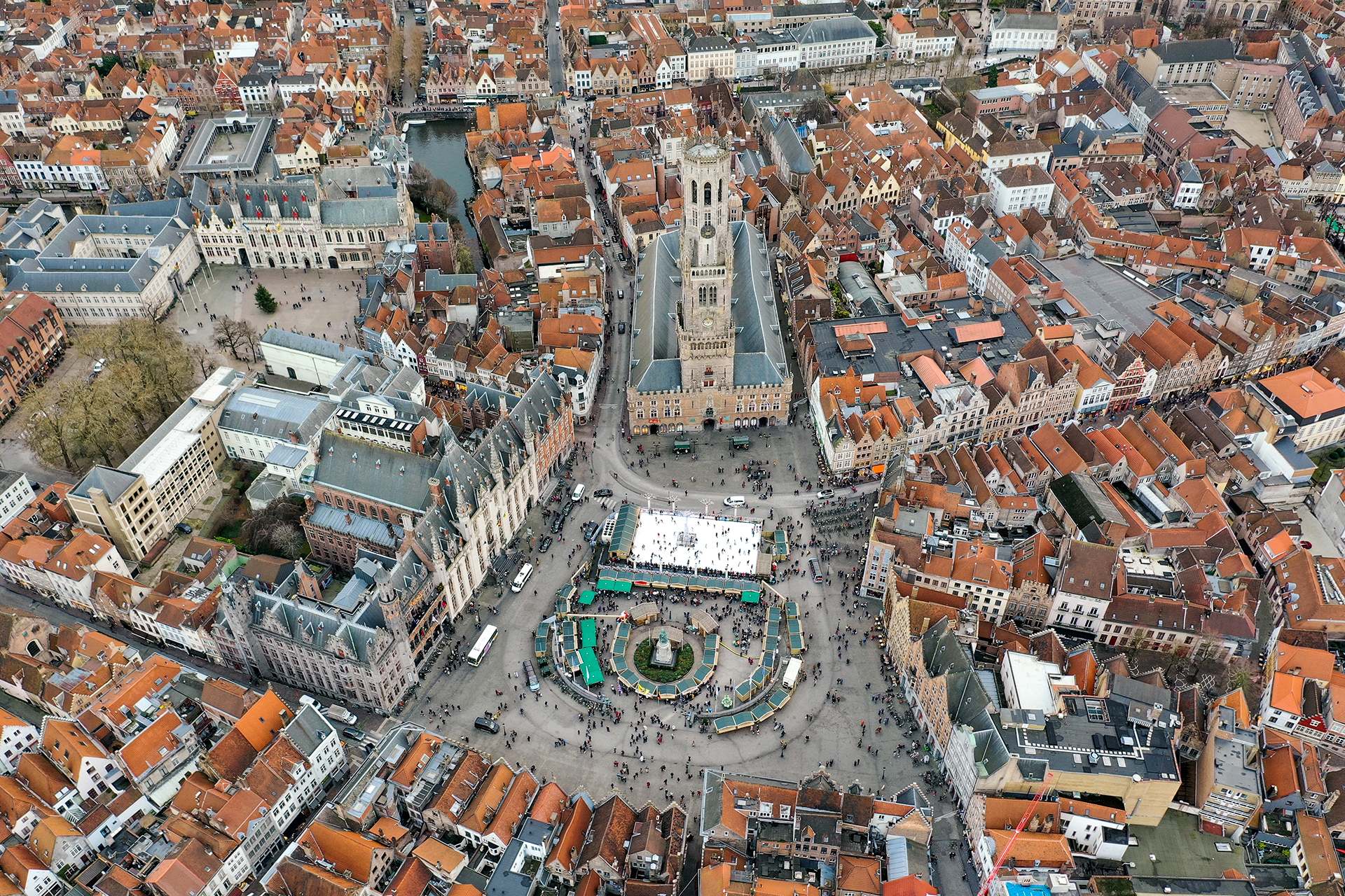 Bruges Aerial City View feat. Belfry of Bruges and Market Square in Belgium
