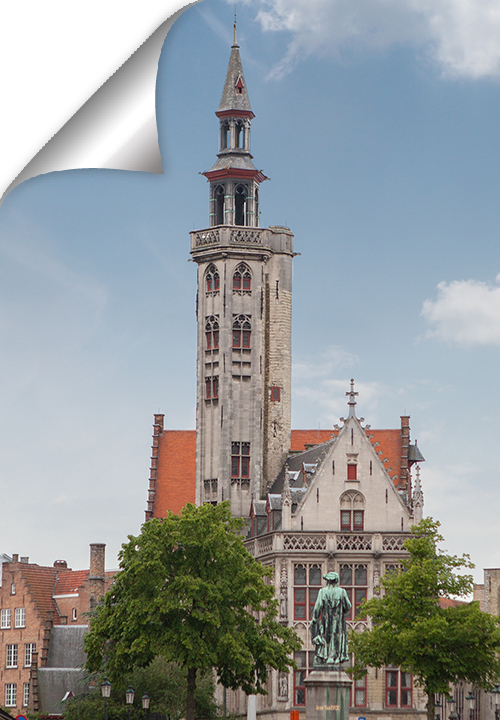 The world-famous Bruges painter Jan van Eyck proudly looks out over the square that bears his name. It is a typical Bruges view next to the water, not too busy which makes a change!