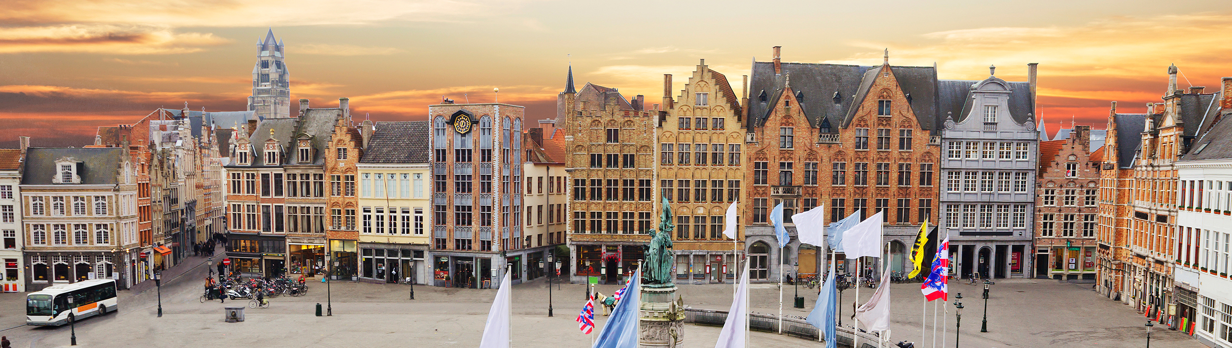 The Markt of Bruges with horse carriage, Belgium